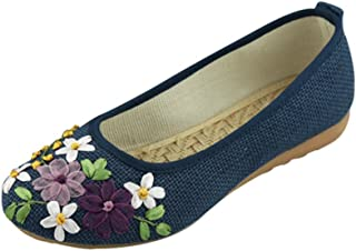 Women's Flower Embroidery Flats Round Toe Casual Slip On Shoes