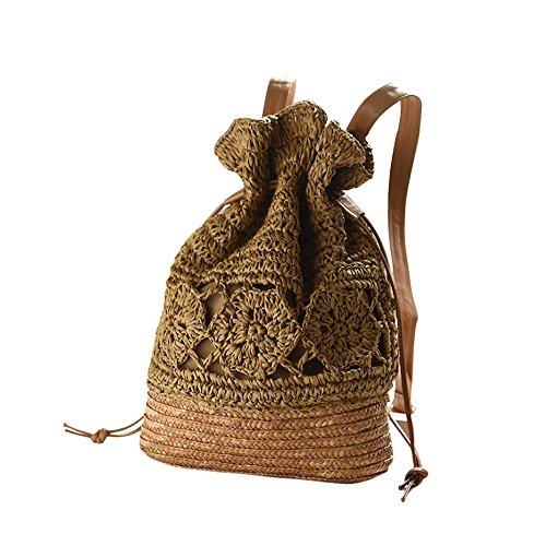 Haodou 1 Unids Vintage Boho Hecho a Mano Hollow Crochet Paja Weave Hombro Tejido Bolso de Las Mujeres Playa del Verano Bolso
