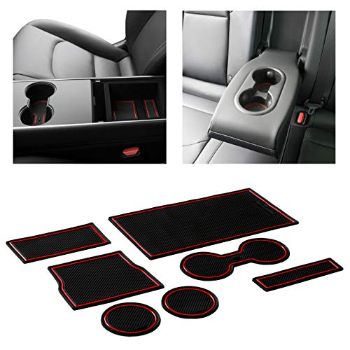 CupHolderHero for Tesla Model 3 2017-2020 Custom Liner Accessories – Premium Cup Holder and Center Console Inserts 7-pc Set (Red Trim)
