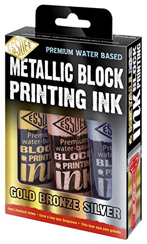 ESSDEE Inchiostro per stampa, confezione da 3, colore: oro metallizzato, argento, bronzo, 100ml x 3