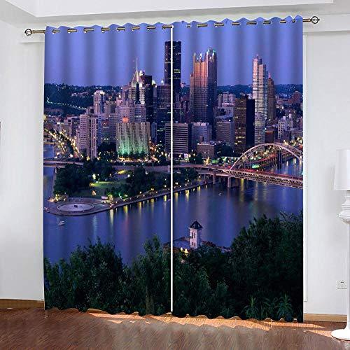 WAFJJ Juego de 2 Cortinas Hong Kong y Puente para Dormitorio Salón Habitación Comedor con Ojales, Decoración de Ventana Semiopacas Tamaño:2x75x166cm(An x Al)