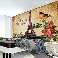 Empty カスタム3D壁壁画北欧スタイル油絵桜鳥壁紙リビングルームテレビソファ寝室家の装飾壁紙-400x280CM