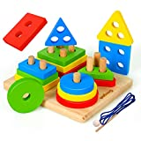 Coogam Giocattoli di ordinamento e impilamento in legno, Riconoscimento del colore della forma Blocchi geometrici Puzzle di corrispondenza con laccio di allacciatura, Gioco da tavolo educativo