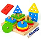 Coogam Wooden Sorting & Stacking Toys, Shape Color Recognition Blocks Matching Puzzle with Lacing String, Fine Motor Skill Educational Preschool Learning Board Game Gift for Toddler Age Year Old