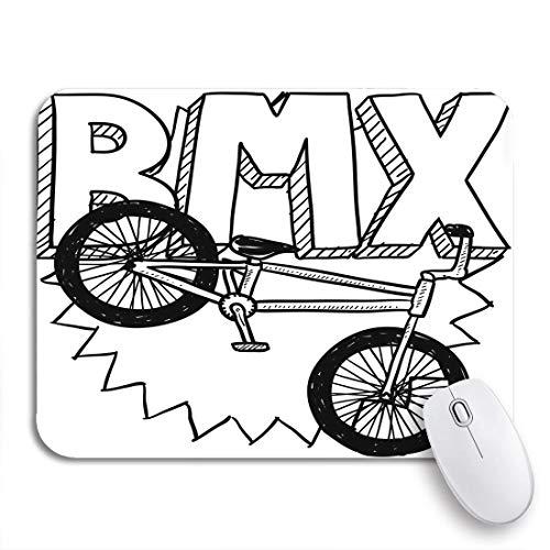Gaming Mouse Pad Sketch Doodle BMX Bike Sports Incluye Texto y Bicicleta Funda de Goma Antideslizante Mousepad para portátiles Computadoras Alfombrillas de ratón