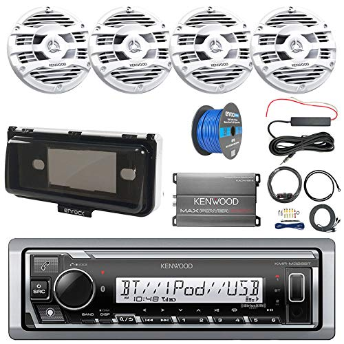 Pontoon Boat Audio Package: Kenwood Single DIN Marine Bluetooth Receiver, 4X Kenwood 6.5' 2 Way Marine Speaker (White), 4-Ch Amplifier, Amp Install Kit, Radio Cover, Amp Booster Kit, Tinned Wire