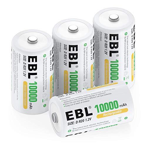 EBL Pilas D Recargables 1.2V Ni-MH 10000mAh Alta Capacidad 1200 Ciclo para Remoto, Juguete, Radio, Linterna (4 unidades)