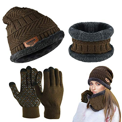 PERFETSELL Wintermütze Set Warm Strickmütze Beanie Winter Mütze Fleece Haube Damen...