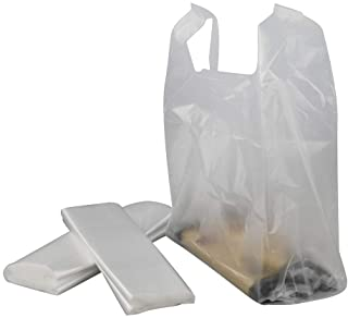 HOMMP Handled T-Shirt Bag, Plastic Multi-Use Carryout Shopping Bags (320 Counts, Clear)