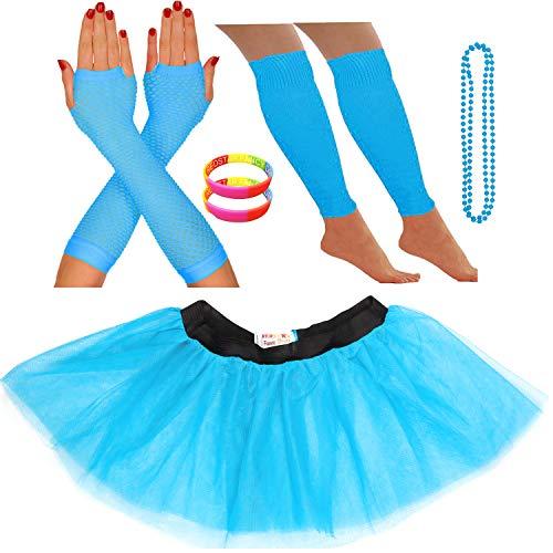 Redstar Fancy Dress® - Tutu-Röckchen, Beinstulpen, Netzhandschuhe, Perlenkette und breite Gummiarmbänder - Neonfarben - Türkis - 42-50