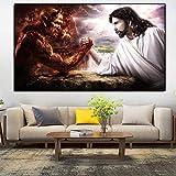 DIY-Kit de Pintura Digital Dios Jesús Satanás el Diablo(40X50cm Sin Marco) para Adultos y niños Pintura al óleo de Bricolaje Lienzo Digital Arte de la Pared Decoración del hogar