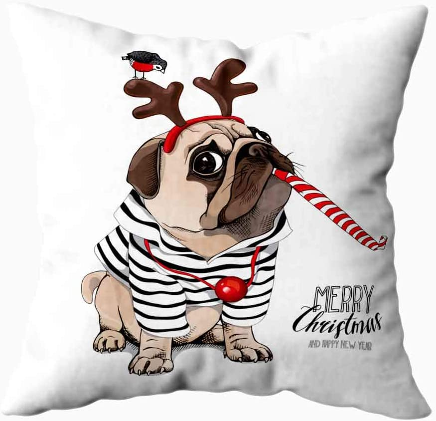 Amazon Com Shorping Red Pillow Cases Xmas Decorations Snow Pillow Case Throw Pillow Covers Christmas Card Pug Dog In Striped Cardigan Christmas Theme Home Decor Pillowcase For Home Sofa Bedding 20x20 Inchs Home