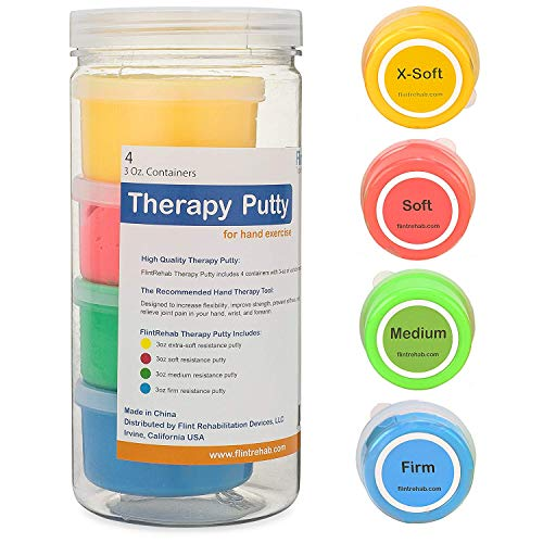 FlintRehab Premium Quality Therapy Putty 4 Pack 3oz Each for Hand Exercise Rehab Fidgeting and Stress Relief