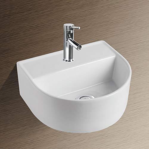 NEG Waschbecken Uno29H (halbrund) Hänge-Waschschale/Waschtisch (weiß) mit schmalem Rand und Nano-Beschichtung