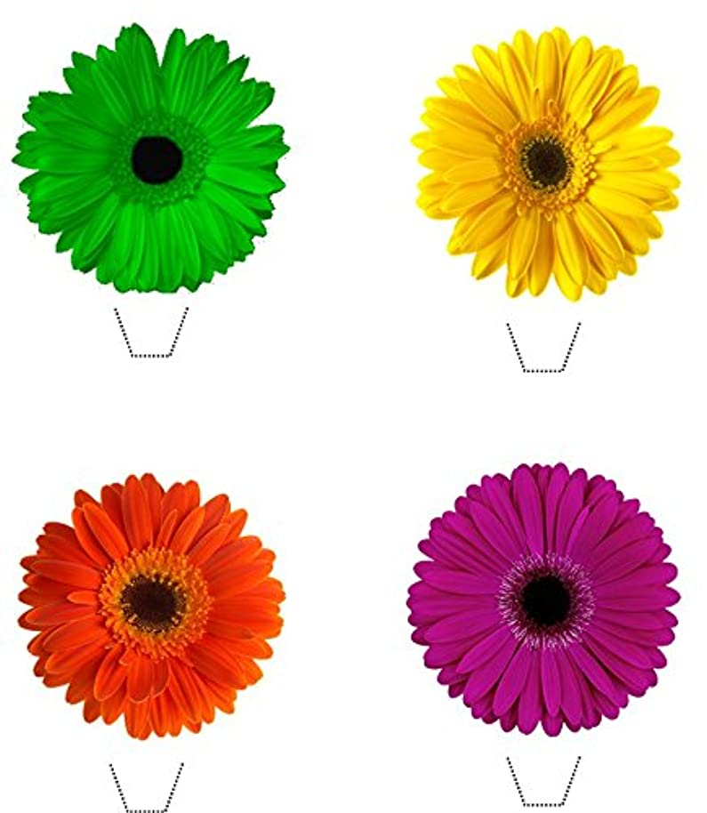 Novelty Gerbera Flower Bright Mix 12 Edible Stand up wafer paper cake toppers (5 - 10 BUSINESS DAYS DELIVERY FROM UK)