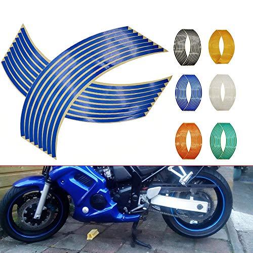 N&G 4PCS Calcomanía Reflectante para Llantas de Ruedas de de 14, 17 o 18 Pulgadas para Ruedas de Motocicleta Coche Bicicleta Bicicleta Noche Reflectante decoración de Seguridad Raya Universal (Azul)