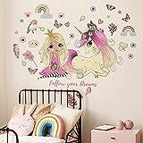 JZLMF 1743 Belle Princesse Et Belle Licorne Stickers Muraux Chambre Enfants Chambre Fond Décoration Murale Stickers Muraux