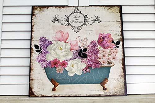 Unbekannt Shabby Blechschild Blumen Bad
