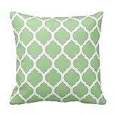 Luz verde y blanco decorativo fundas de cojín manta funda de almohada marroquí Quatrefoil Impreso cuadrado dos lados