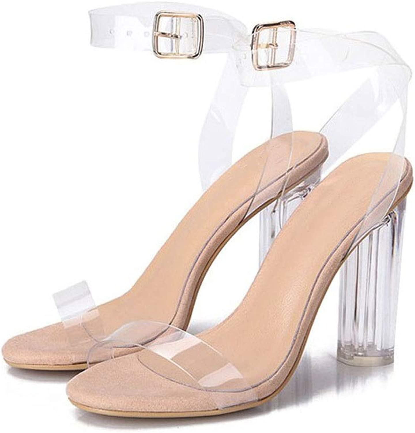 Women's Clear Strappy Block Chunky High Heel Open Peep Toe Sandal Pumps Party Wedding Dress shoes (color   Khaki, Size   36)