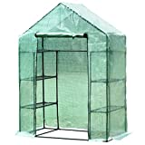 <span class='highlight'><span class='highlight'>Outsunny</span></span> Walk in Garden Greenhouse with Shelves Polytunnel Steeple Green house Grow House Removable Cover 143x73x195cm