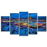 Ssckll Modulare Bilder Poster 5 Panel Marrakesch Platz