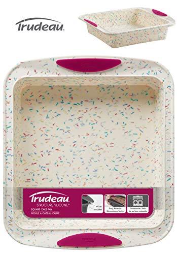 Trudeau Moldes para horno Confetti, de silicona anti-adherente. Tiene una estructura interna de acero para aportar estabilidad. Apto para lavar en lavavajillas. Molde cuadrado 23 x 26 cm