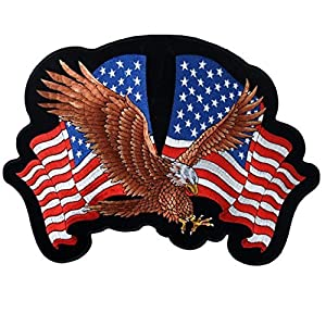 Exclusive Geniune HOT LEATHERS Original Artwork Licensed Brand EAGLE 2 FLAGS, American Eagle with USA Flags - High Thread Iron-On/Saw-On Rayon PATCH - 4