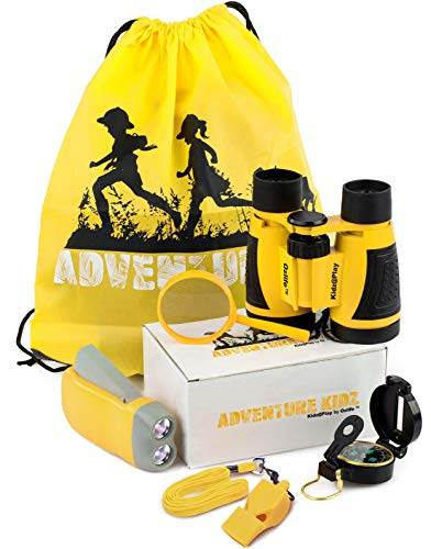 Adventure Kidz Outdoor Exploration Kit, Yellow Backpack, Binoculars, Magnifying Glass, Lensatic Compass, Fox Whistle for Boys and Girls
