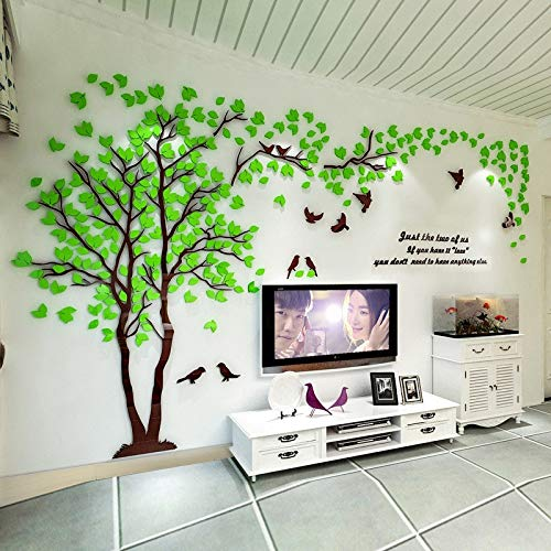 Vinilos De Pared Decorativos 3D Acrílico Calcomanías De Espejo Diy Art Tv Fondo Cartel Del Hogar Dormitorio Sala De Estar Luz Verde Xl Sobre 4X2M