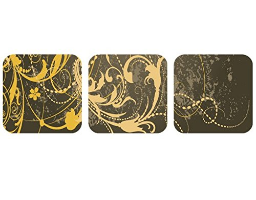 Selbstklebendes Wandbild Grunge Banner I Trio Schnörkel Bordüre Ranken Antike, Größe:18cm x 54cm