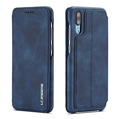 QLTYPRI Huawei P20 pro Hülle, Premium PU Leder Handyhülle Ultra Dünne Ledertasche Magnetverschluss Standfunktion und Kartenfach Wallet Hülle Flip Schutzhülle für Huawei P20 pro - Blau