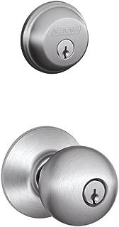 Schlage FB50CS V ORB 626 B60 Single Cylinder Deadbolt and F51 Keyed Entry Orbit Knob Keyed Alike, Satin Chrome Finish