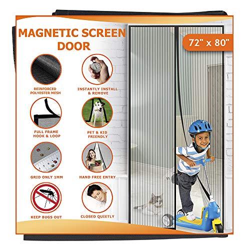 Meiz Reinforced Magnetic Screen Door with Full Frame Hook & Loop, Hands Free Screen Door Net, Mosquito Door Screen with Magnet, Pet and Children Friendly - Fits Doors up to 70 x 79 Inches