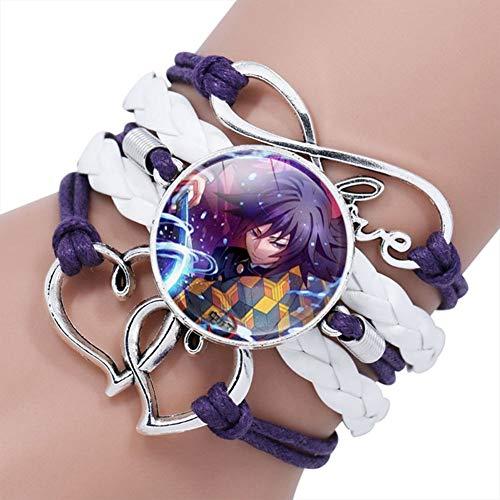 UCAI Demon Slayer :Kimetsu no Yaiba Bracelet, Wristband Braided Bracelet Time Gem Stone Leather Bracelet for Kids Teens Adults Anime Fans(17)