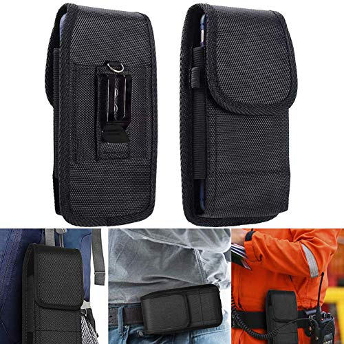 BETOY Funda Cinturon en Nylon, Clip para Cinturón Funda Vertical Oxford con Velcro y Mosquetón para Huawei P20/P30 iPhone 6/7/8 Samsung S5/S9, 4,5-5,1 Pulgadas Noir