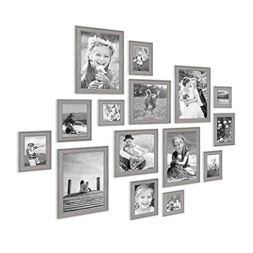 PHOTOLINI 15er Set Bilderrahmen Skandinavischer Landhaus-Stil Grau-Braun 10x10 bis 20x30 cm inklusive Zubehör/Fotorahmen/Wechselrahmen