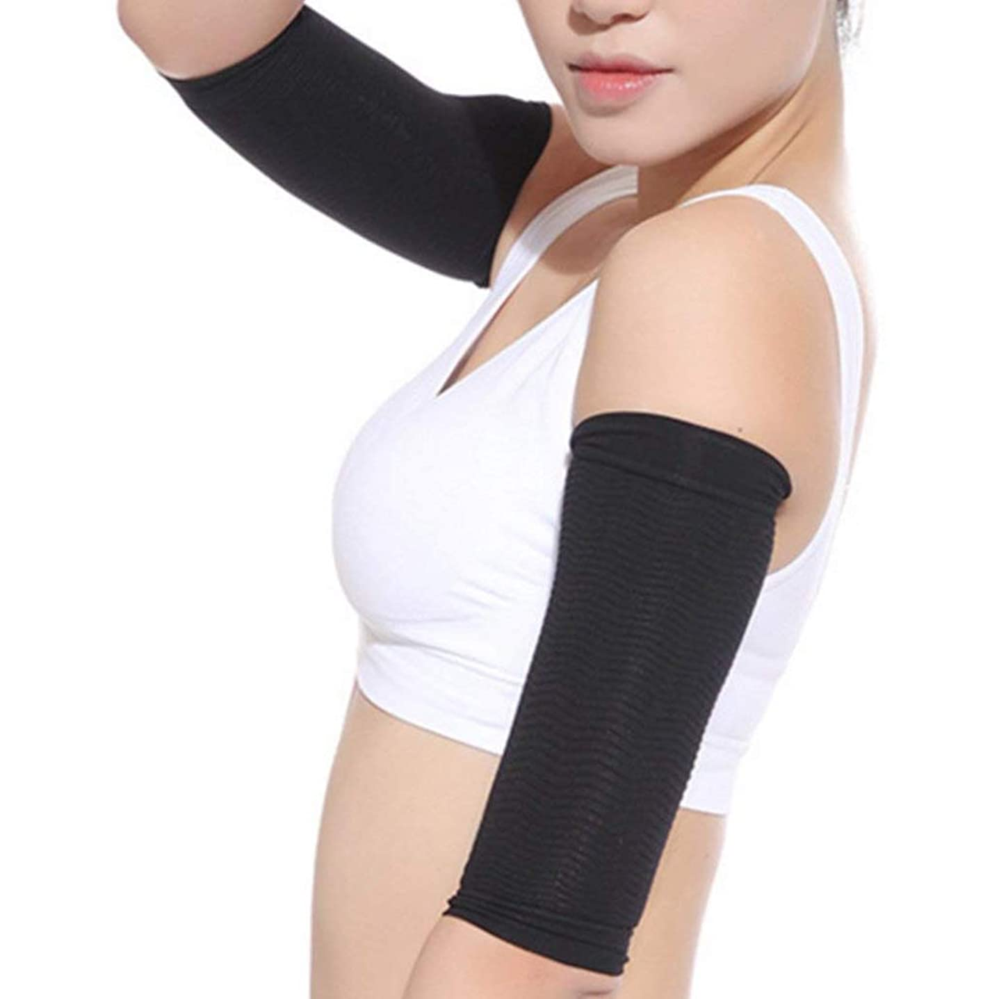 単に先例指紋COCOMOKA 二の腕引き締めサポーター シェイパー 二の腕サポーター アームカバー 両腕セット ブラック 腕痩せ