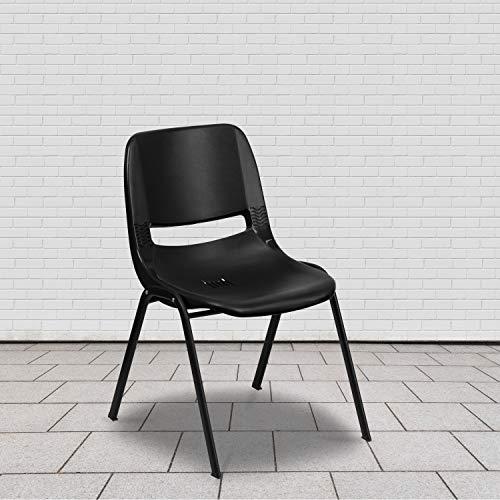 BizChair Black Ergonomic Shell Student Stack Chair - Classroom Chair/Office Guest Chair
