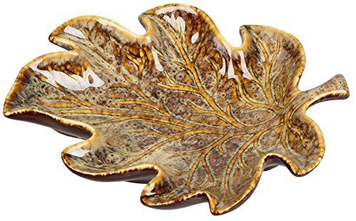 dekojohnson Deko-Schale Blatt-Form Obstschale Tischdeko Servierschale Deko-Teller Deko-Platte Plätzchenteller Herbstdeko Winterdeko 25cm Schlüsselschale
