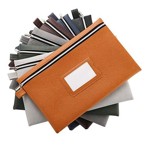 Premium 7-Piece Bank Bag Set - Heavy-Duty Zippered Faux Leather Cash Bag, Deposit Bag, or Tool Pouch - Water Resistant, 7 Earthy Colors - Bank Deposit Bag, Pencil Pouch, Coin Bag, Zipper Pouch