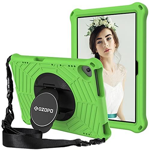 Gozopo - Funda de 10,1 pulgadas para Lenovo M10 FHD REL / Lenovo Tab M10 HD TB-X505F / Tab M10 TB-X605F - Funda resistente a los golpes con correa para el hombro y caballete. Color verde