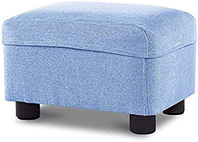 Ottoman Footrest Stool, Rectangle Footstool with Wood Legs, Home Creative Shoe Changing Bench, Foot Rest Stool Seat/Multicolor
