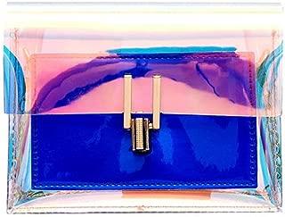 Fashion Women's Bags PVC(Polyvinyl Chloride) Crossbody Bag Chain Blue/Silver/Blushing Pink (Color : Blue)