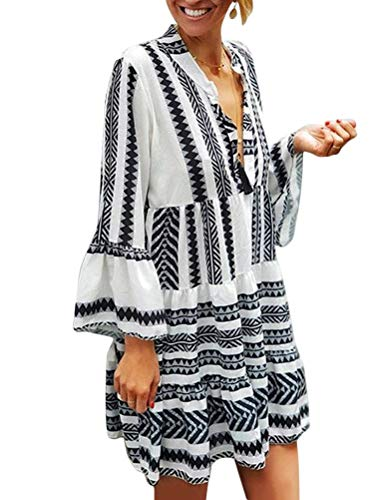 ORANDESIGNE Damen Kleider Strand Elegant Casual A-Linie Kleid 3/4-Arm Sommerkleider Boho V-Ausschnitt Tunika Mini Kleider A Weiß L