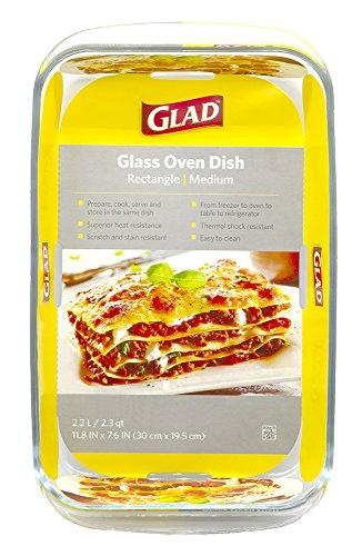 Glad Clear Glass Oblong Baking Dish | 2.3-Quart Nonstick Rectangular Bakeware Casserole Pan | Freezer-to-Oven and Dishwasher Safe, Medium