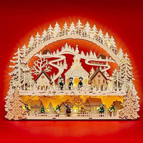 SIKORA LB06 beleuchteter LED Holz Schwibbogen Weihnachtsdorf inklusive Trafo