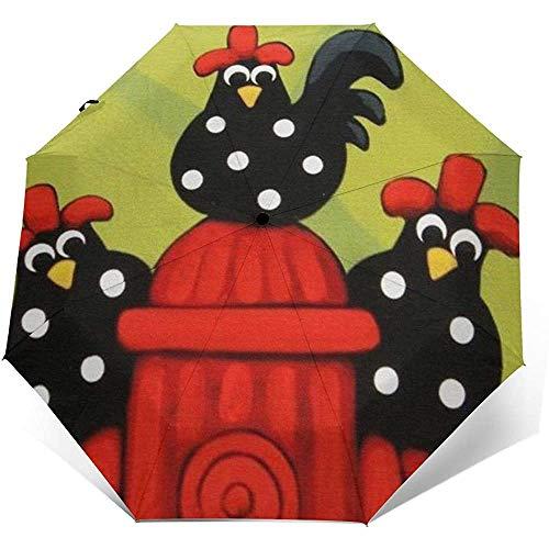 Umbrella Black Dots Hähne Hens FamilyTravel Umbrella Compact Automatic FoldingAnti UV Sonnenschutz