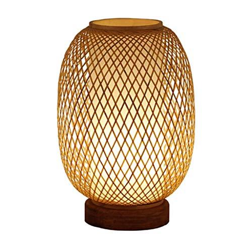 NXYJD Lámpara de Mesa, lámpara de cabecera del Dormitorio Creativo Nostalgia Retro Hecho a Mano de bambú Lámpara de Mesa