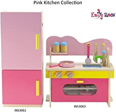 18 Inch Doll Furniture for American Girl Dolls | Kitchen Oven/Stove/Sink Combo and Refrigerator - over 20 Wooden Food Accessories | Fits 18
